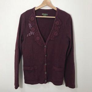 3/$25 Eddie Bauer maroon button up cardigan